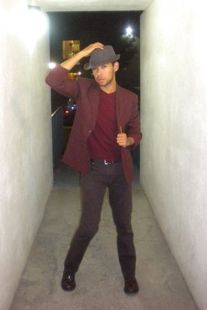 brown Anomie hat - red thrifted blazer - red merona sweater - brown Carbon pants