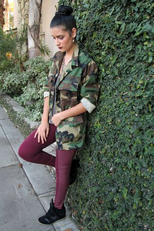 camo thifted coat - pleather H&M pants - wedge Steve Madden sneakers
