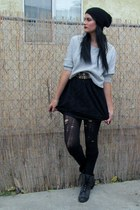 cropped studded Mossimo sweater - Guess boots - lace Forever 21 dress