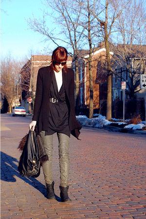 gray Helmut Lang pants - black Forever 21 cardigan - black vintage belt
