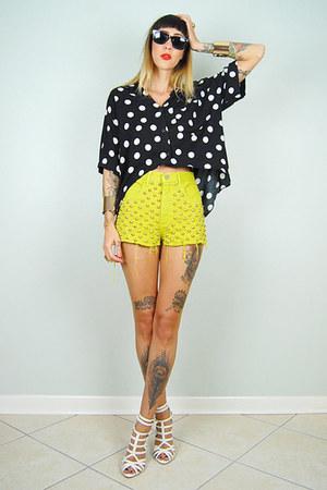 chartreuse noirohio vintage shorts - black noirohio vintage blouse