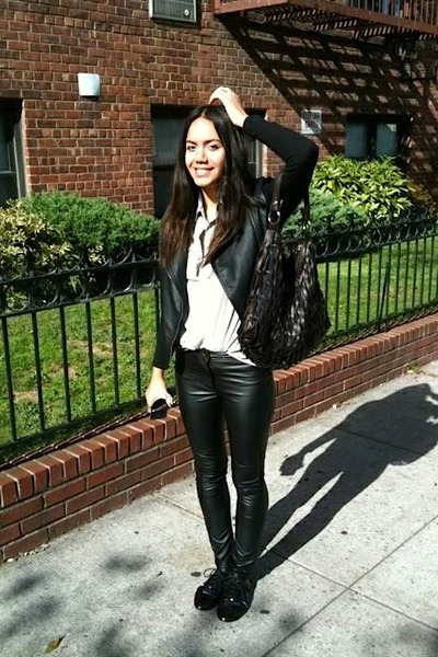 black f21 jacket - white Ralph Lauren blouse - black H&M pants - black Deena & O