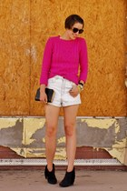 hot pink cable knit Forever 21 sweater - black fringed Betsey Johnson boots