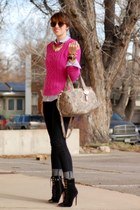hot pink Forever 21 sweater - black skinnies Forever 21 jeans - Cole Haan bag
