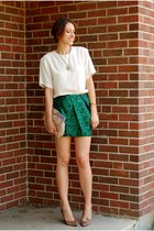 dark green asos skirt - nude feather clutch asos bag - camel vintage heels