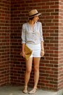 Camel-fedora-forever-21-hat-white-h-m-shorts-white-spotted-forever-21-blouse