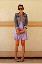 light purple ruffled silk Sine dress - sky blue denim H&M jacket