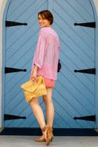 light purple sheer Forever 21 blouse - camel gold detail asos bag