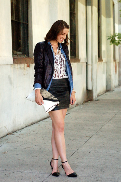 chambray Forever 21 blouse - animal print Forever 21 blouse - sequin Zara blazer