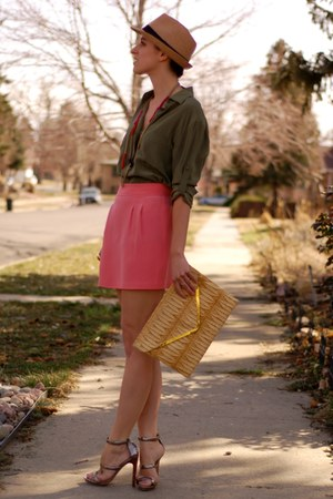 silk mini Naven skirt - fedora Forever 21 hat - metal bar asos bag