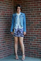 zebra print H&M dress - denim H&M jacket - sheer H&M blouse