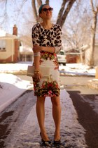 ivory tropical print Topshop skirt - ivory leopard print Forever 21 sweater