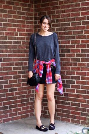 dark gray Forever 21 shirt - red plaid Forever 21 shirt - black denim H&M skirt