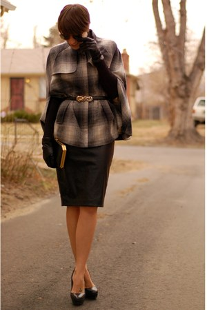 plaid shirt Forever 21 cape - faux leather Zara skirt - H&M top