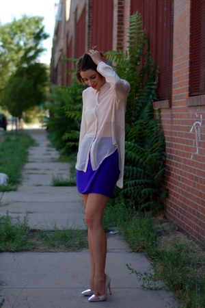 cream sheer Akira blouse - deep purple silk mini Diane Von Furstenberg skirt