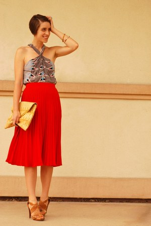 red pleated midi asos skirt - heather gray printed chiffon mara hoffman dress