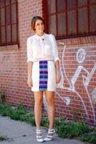 blue mara hoffman skirt - white airtex duffle asos bag - gold asos accessories