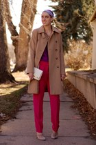 camel trench DKNY coat - magenta silk Urban Outfitters shirt