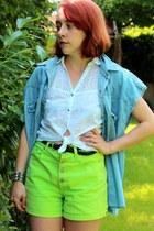 littleraisinvintage shorts - FleaMarket vest - Bershka blouse - H&M belt