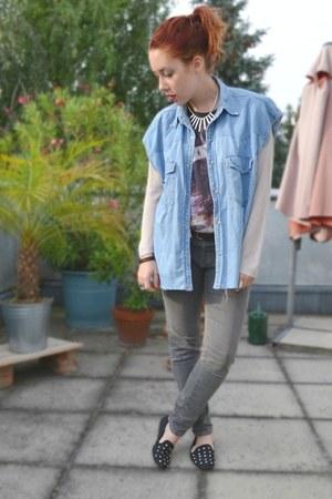 thrifted vest - H&M cardigan - Zara t-shirt - Zara pants