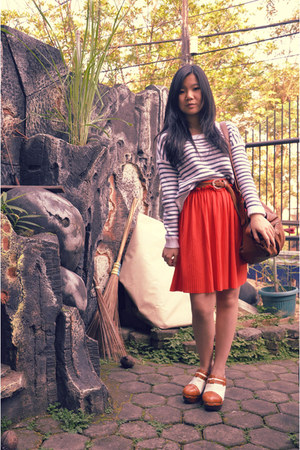 stripes H & M sweater - oversized Pimkie bag - pleated Zara skirt - clogs - brai