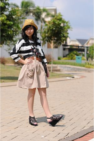 beige skirt - brown Primark bag - brown belt - brown straw hat H & M