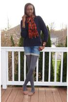 navy Thrifted Lands End sweater - blue DKNY shorts - orange J Crew scarf - light