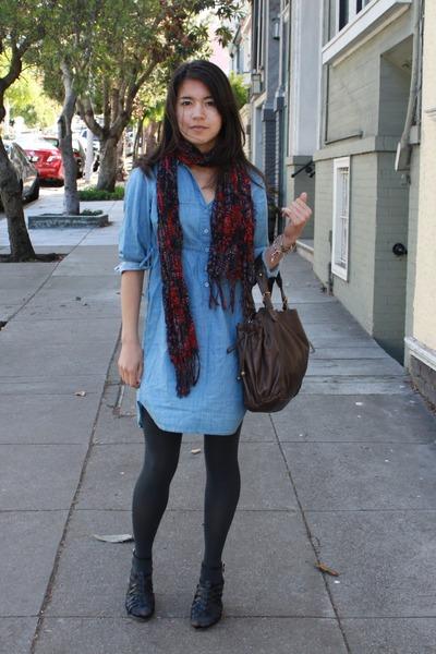 presenting in stock best online Denim H&M Dresses, Slate Gap Tights, Floral Print H&M ...