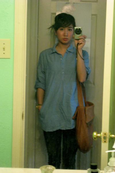 blue Prototype top - gray BDG jeans - gold Bulova accessories - brown Jack Rabbi