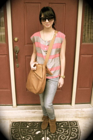 pink top - brown Jack Rabbit purse - brown Minnetonka shoes - gold Bulova access