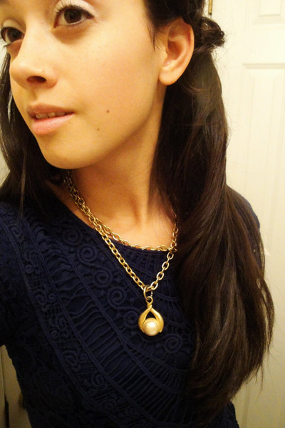 gold unknown necklace - navy lace Xhileration dress