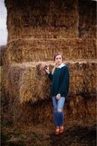 blue jack wills jeans - teal knitted Topshop jumper - camel Plumo clogs