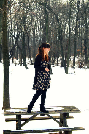black boots - black Charlotte Russe dress - black black tights tights - black ca