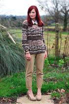 neutral Zara sweater - tan Very heels - tan La Redoute pants