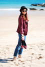 Blue-la-redoute-jeans-black-asos-hat-ruby-red-dorothy-perkins-blazer