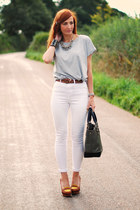 white asos jeans - dark gray Laura Ashley bag - silver asos t-shirt