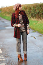 ruby red LOCALLY BOUGHT coat - tawny Bertie boots - tan FF hat