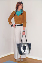 white Lulu Guinness bag - bronze asos sweater - turquoise blue scarf