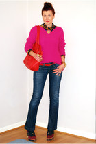 navy Miss Sixty jeans - hot pink Zara sweater - blue Vero Moda shirt