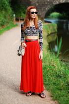 red River Island skirt - heather gray asos bag - black Ray Ban sunglasses
