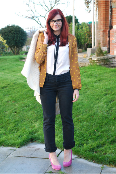 mustard asos blazer - off white vintage cape - ivory Topshop blouse