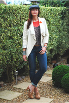 tan new look heels - navy Gap jeans - charcoal gray Debenhams hat