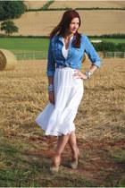 white cotton vintage from Ebay dress - denim Topshop shirt
