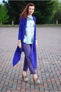 Blue-ted-baker-cardigan-light-blue-vintage-blouse-light-purple-asos-pants