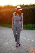 silver OASAP romper - white hat - mustard asos necklace - purple zalando heels