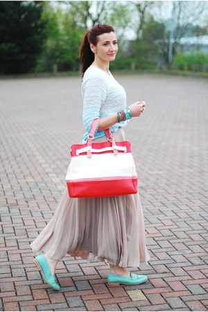 light blue ff at tesco sweater - red next bag - beige new look skirt
