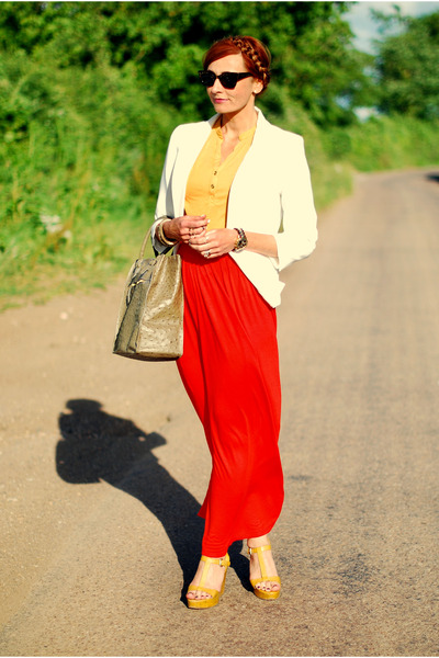 ivory blazer - dark khaki bag - red skirt - gold top - mustard heels