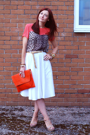 animal print Topshop top - orange asos bag - white Debenhams skirt