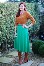 teal asos skirt - brown Duo boots - bronze asos sweater
