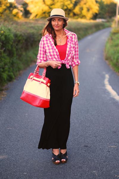 black asos skirt - eggshell asos hat - bubble gum M&S shirt - red Debenhams bag